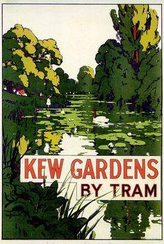 Kew Gardens By Tram, London, poster design Posters Uk, Railway Posters, Poster Prints, London Poster, British Travel, Tourism Poster, Art Deco Illustration, Retro Poster, London Transport