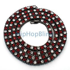 Red and Bling   Red & WHite on Black Checkered Bling Bling Chain - Clearance Hip Hop ...