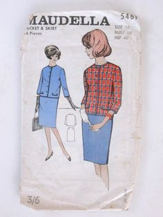 Maudella suit pattern: 5461, Size 18, Bust 38in, Hip 40in, 14 pieces. Jacket and skirt pattern. Paper sleeve with thin paper pattern inside, details of dress sizes on the back of sleeve, picture of 2 models in blue and red suits on front.