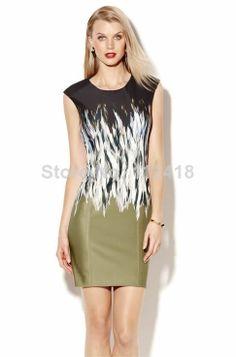 Fashion Gorgeous Print Women SHEATH Dress Elegant Work Dresses ML089 US $41.00