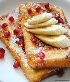 French Toast with banana and pomegranate seeds