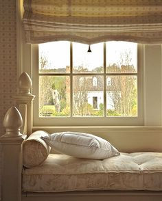 Summer view through a bedroom window at Tottier Creek Farm. Here we see the guesthouse, where Pulitzer Prize-winning playwright Sam Sheperd wrote many of his plays. Photo of our project by #edwardaddeo... #interior #virginia #countrylife #relax #windowseat #romanshades #interiordesign #neutrals #interiors #designinspiration #design #southernstyle