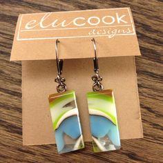 Fused Glass Earrings By Emily L.U. Cook of eluCook Designs www.elucook.com and www.facebook.com/elucookdesigns