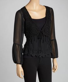 Look what I found on #zulily! Black Lace Crochet Silk-Blend V-Neck Top by Pretty Angel #zulilyfinds