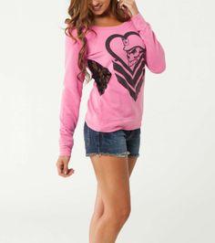 Metal Mulisha Maidens ladies pink crew neck fleece. lace side panels. HEARTCANDY FLEECE $44.00