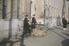 Sentries with machine gun. 1949 Seoul, photo lightened from original at link, for visibility.