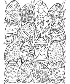 Free printable happy Easter adult coloring page. Download