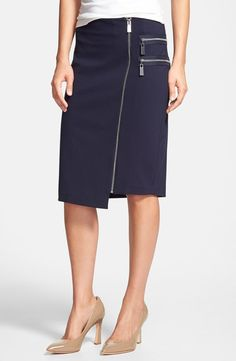 Vince Camuto Front Zip Asymmetrical Knit Skirt