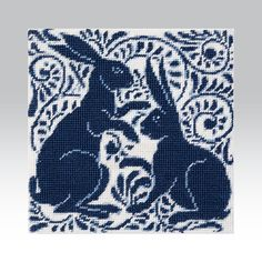 'Stag' and 'Lion' join Beth McNally's series of blue and white mini kits, based on tiles designed by William De Morgan for Lord Arthur Russell's house in Audley Square, London which is now the home of The University Women's Club . Needlepoint Pillows, Needlepoint Kits, Needlepoint Designs, Blackwork Embroidery, Cross Stitch Embroidery, Cross Stitch Designs, Cross Stitch Patterns, Small Projects Ideas, Cross Stitch Pillow
