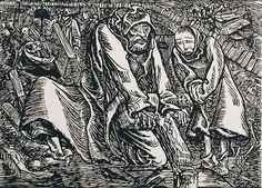 Cross and Grave robbers, 1919, woodcut, Ernst Barlach
