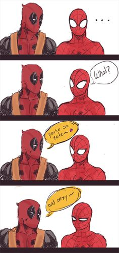 Wade Wilson Peter Parker Deadpool Spider-man Spideypool