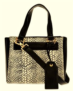 01ac33aad8e406 Isaac Mizrahi Nolita Lamb Leather Top Handle Satchel Handbag Black/Snake  9.5 x 7   eBay