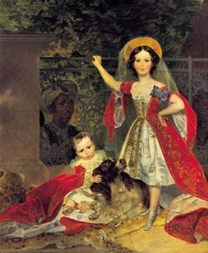 Karl Briullov  Portrait of children with Volkonskiis Arab