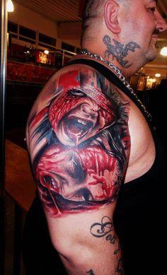 Artist:  Azoitei Costi   bloody girls | InkFREAKZ.com Random Tattoos, New Tattoos, Original Tattoos, Skin Art, Halloween Face Makeup, Ink, Artist, Girls, Daughters