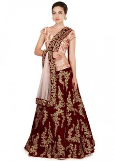 Maroon Embroidered Silk Wedding Lehenga Choli With Dupatta Lehenga Choli Online, Bridal Lehenga Choli, Silk Lehenga, Silk Dupatta, Bollywood Saree, Bollywood Fashion, Velvet Lehnga, Rajasthani Lehenga, Maroon Color