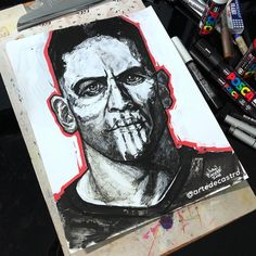 The Punisher, awesome drawing fan art by artist Ivan Castro form Orlando Daredevil, Harp, Punisher, Comic Character, Marvel Universe, Cool Drawings, Gun, Fan Art, Comics