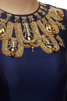 Jade by Monica and Karishma - Golden beaded Jaal neckline