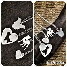 Hand Cut Sterling Silver Pit Bull Necklace 10 by larrythedog, $52.99