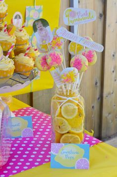 Lemon centerpiece at a sunshine and pink lemonade birthday party! See more party ideas at CatchMyParty.com!