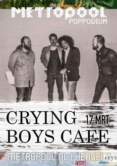 Vrijdag 17 mrt | Crying Boys Cafe | Wij weten best dat er heus wel eens een spelfoutje te vinden is op onze website maar in dit geval klopt de spelling wel. Café is in dit geval zonder apostrof. Dat is artistieke vrijheid. Crying Boys Cafe dus, een energiek kwartet dat in één ritme ademt - net zo hard voortgejaagd door wanhoop als door plezier. Meer info: metropool.nl/...