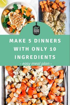 This simple meal plan uses the same 10 ingredients to create 5 weeknight dinner recipes. If you hate purchasing a large number of ingredients each week, this meal plan is for you! This plan not only keeps your grocery list short but can help to reduce food waste. #mealplan #mealplanning #healthyrecipe #recipe #dinner #easydinner Easy Healthy Dinners, Healthy Dinner Recipes, Food Tips, Food Hacks, Easy Meal Plans, Food Waste, Meals For The Week, Turkey Recipes, Recipe Using