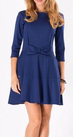 Makadamia Dark Blue Bow Fit & Flare Dress
