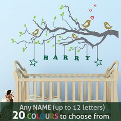 PERSONALISED NAME LOVE BIRDS TREE wall sticker decal / mural for kids nursery. Any name (up to 12 letters), 22 colours to choose from.