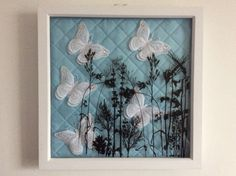 Shadow box with FSL butterflies and screen sensation on the glass Shadow Box, Screen Printing, Butterflies, Lettering, Frame, Glass, Projects, Prints, Ideas