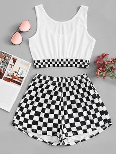 Gingham Crop Top With ShortsFor Women-romwe Crop Top Outfits, Cute Outfits For Kids, Cute Summer Outfits, Cute Casual Outfits, Stylish Outfits, Girls Fashion Clothes, Teen Fashion Outfits, Retro Outfits, Cute Fashion