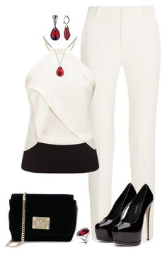 A fashion look from April 2016 featuring Roland Mouret tops, Roland Mouret pants and Jimmy Choo shoulder bags. Browse and shop related looks. Komplette Outfits, Dressy Outfits, Fashion Outfits, Womens Fashion, Fashion Trends, Work Outfits, Fashion Ideas, Mode Inspiration, Passion For Fashion