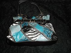 new big teal blue studded leather like purse handbag edgy trendy animal prints