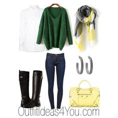 These colors will look great on a clear winter or warm spring. The bright green with pale yellow is a fun color combo for the fall and winter season.  I layered a crisp white button down blouse under an oversized green v-neck sweater. If you're a warm spring, I recommend wearing a cream color blouse. Click to shop this outfit...