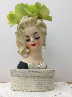 Vintage Head Vase Lady Head Vase Black Dress Head Vase Vanity Decor Blonde Hair Head Vase Boudoir Decor Brush Holder Lady Figurine by PinkHenStudio on Etsy