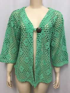 Bathing Suit Cover Up L Cut Out Top Jacket Cardigan Beach Green Mirror Image  #MirrorImage #CutOutTopBathingSuitCoverup #BeachVacationResort