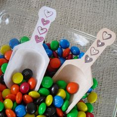 Wood Scoops with Hearts and Crystals for Candy Buffets or Favors - Item 1063
