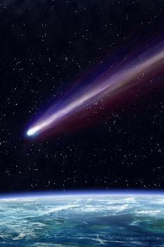 Comet passing over the Earth