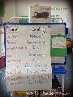 "This is a great response to one of the wonderful Eric Carle books...love this teacher's idea!  1..2..3.. Teach With Me: ""The Very Quiet Cricket"": Writing Activity"