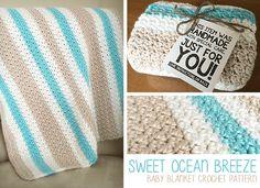 Sweet Ocean Breeze Baby Blanket Crochet Pattern | by Little Monkeys Crochet | Little Monkeys Crochet