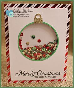 To You and Yours Shaker Card Kit; Six Sayings, Delicate Ornament Thinlit Dies, Katherine Macdonald, Stampin' Up! Diy Christmas Cards, Stampin Up Christmas, Handmade Christmas, Holiday Cards, Karten Diy, Shaker Cards, Winter Cards, Card Kit, Creative Cards