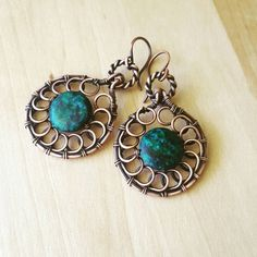 Hey, I found this really awesome Etsy listing at https://www.etsy.com/listing/238038032/wire-azurite-earrings-chandelier