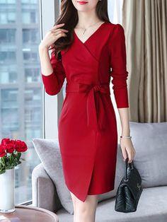 Long Sleeve Wrap Elegant Sheath Plus Size Dress