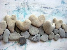 Heart shaped stones  Unique Home Decor   OOAK 3D by MedBeachStones
