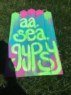 aaseagypsy; soon to be jewelry display; acrylic on hanging fence board;