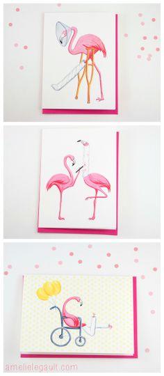 Get well cards, Pink Flamingos, / Cartes bon rétablissement, Flamants roses by…