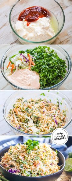 Spicy Coleslaw, Asian Coleslaw, Asian Slaw, Coleslaw Mix, Side Dishes For Bbq, Side Dish Recipes, Easy Family Meals, Family Recipes, Bbq Pork Sandwiches