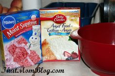 Stawberry angel food cake:  -Mix angel food powder mix and stawberry cake mix in 1 gallon plastic bag.  -shake  well  -put3Tblsp. of the cake mix and 2 tblsp. of water put in a bowl  -Microwave for 1 minutes  -add some cool whip on top  -easy to make and very yummy:)