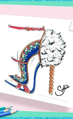 Sophia Webster's sketch of the Catia shoe that goes with the VS Fantasy Bra!