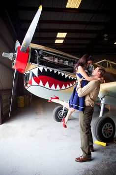 This is an awesome engagement shoot! Vintage Pin Up Aviator Engagement Shoot | Bridal Musings