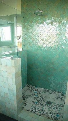 fish scales in glamorous green bathroom tile | The Green Room Interiors Chattanooga, TN