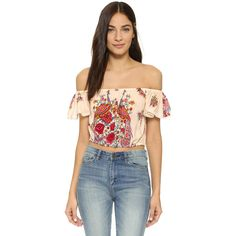 SPELL Hotel Paradiso Off the Shoulder Crop Top ($160) ❤ liked on Polyvore featuring tops, pearl, off shoulder crop top, short sleeve tops, floral print top, floral crop top and retro tops